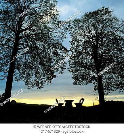 Germany, nature reserve Bergisches Land, North Rhine-Westphalia, symbol, evening mood, table and two seats between two trees in the evening light, sunset