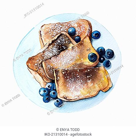 Watercolour painting of french toast and blueberries