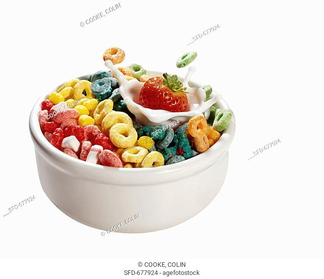 Strawberry Splashing into a Bowl of Fruit Loops