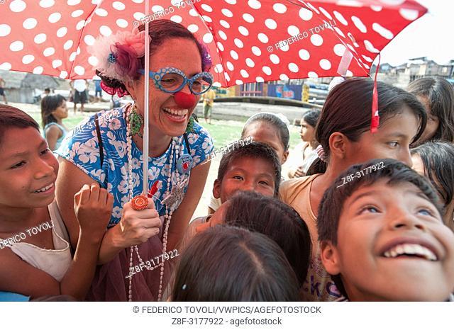 "The Peruvian actress Wendy Ramos, founder of """"bolaroja"""", during the festival Belen. Peru"