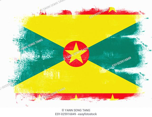 Flag of Grenada painted with brush on solid background