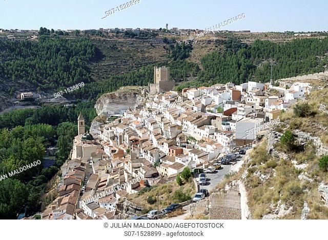 Overview of Alcala del Jucar, Albacete, Castilla La Mancha, Spain