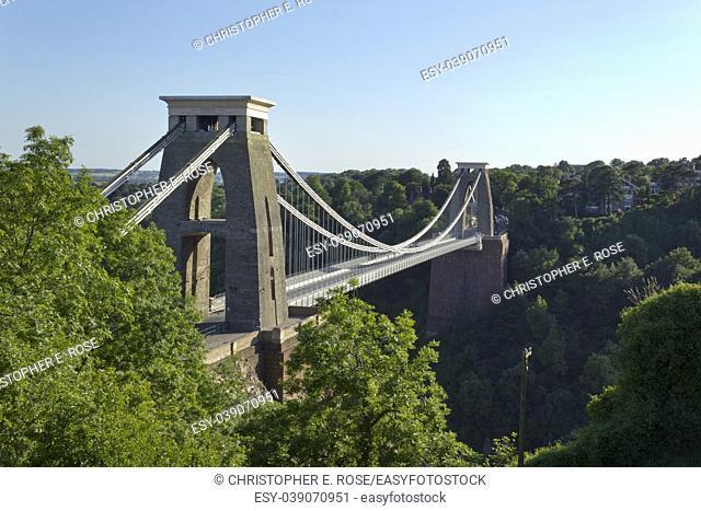 Historic landmark of The Clifton Suspension Bridge in the Clifton area of the City of Bristol, UK