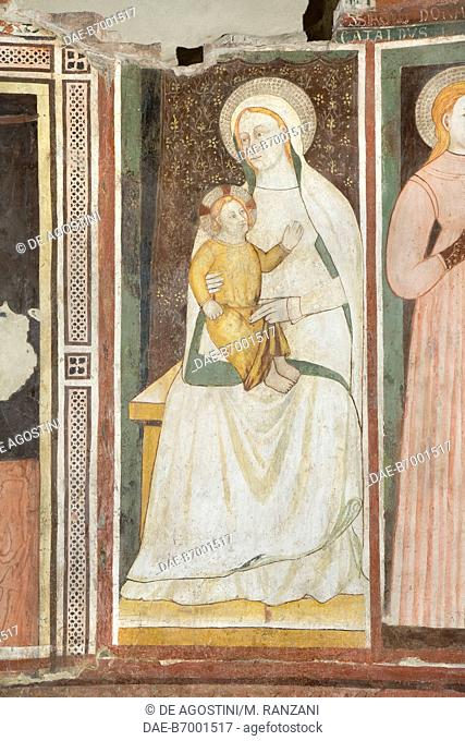 Madonna with Child, detail from the frescoes behind St Michael's altar, left transept in Cremona cathedral, Cremona, Lombardy. Italy, 14th century