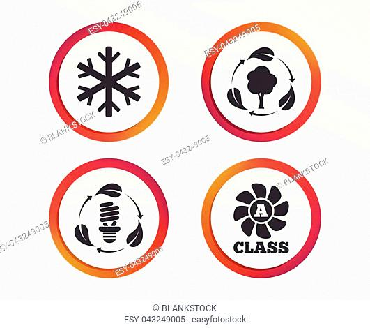 Fresh air icon. Forest tree with leaves sign. Fluorescent energy lamp bulb symbol. A-class ventilation. Air conditioning symbol