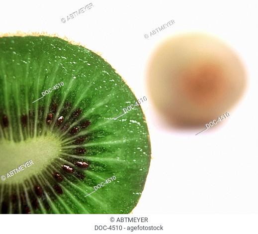 Cut kiwi on white base