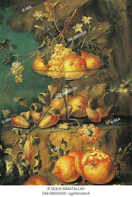 Unknown painter, Northern Italy (18th century), Landscape with Fruit and Birds. Detail.  Florence, Museo Bardini (Art And Arts And Crafts Museum)