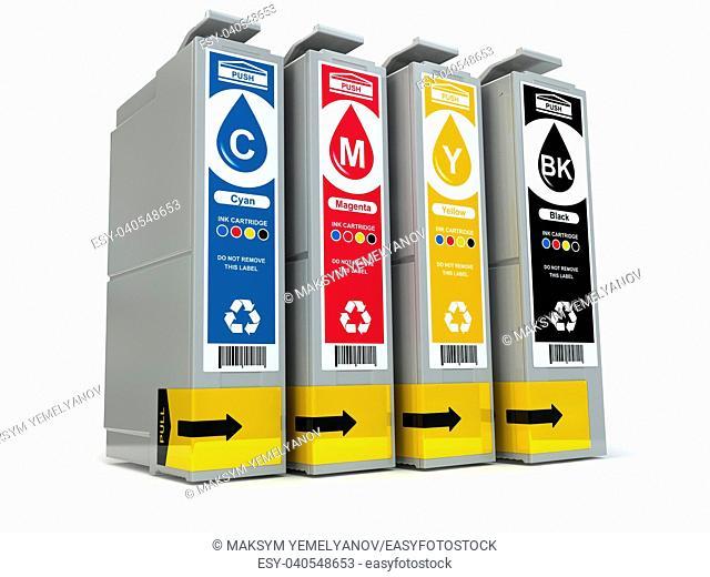 Inkjet CMYK printer cartridges isolated on white. 3d