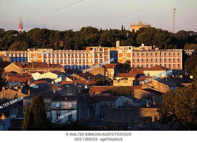 France, Languedoc-Roussillon, Herault Department, Montpellier, morning town view from Promenade de Peyrou park