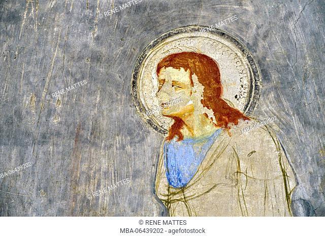 France, Gard, Villeneuve les Avignon, the chapel of Saint Jean Baptiste, known as of the frescos, works of Matteo Giovannetti illustrating the legend of St John...