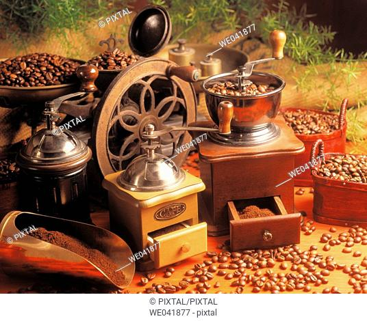 Coffee mills and beans