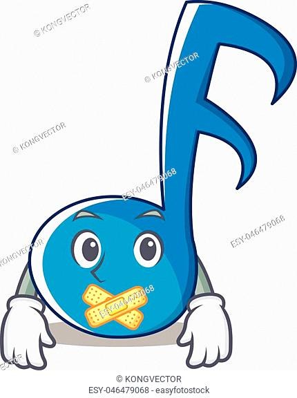 Silent Music Note Character Cartoon Vector Illustration