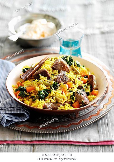 Lamb biryani with rice (India)
