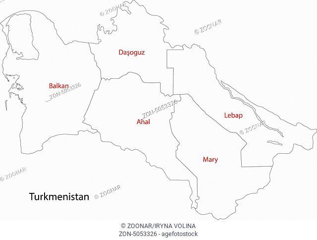 Contour Turkmenistan map