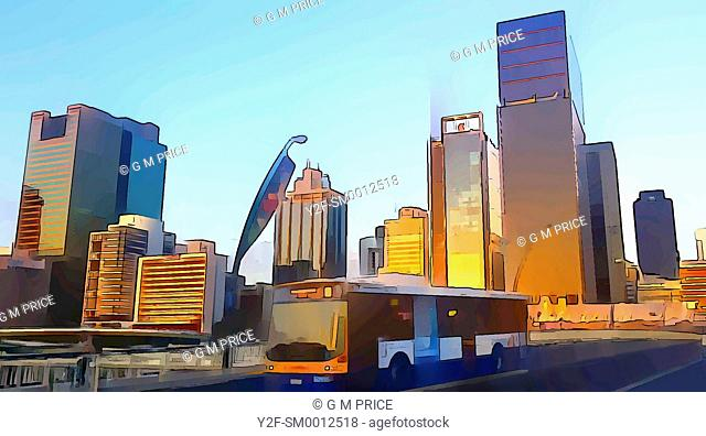 cartoon filter view of bus crossing Victoria bridge and Brisbane city skyline