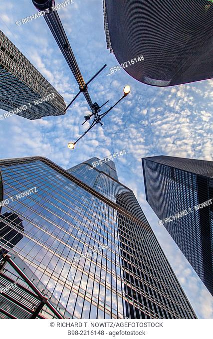 Looking up at the he Trump International Hotel and Tower in downtown Chicago