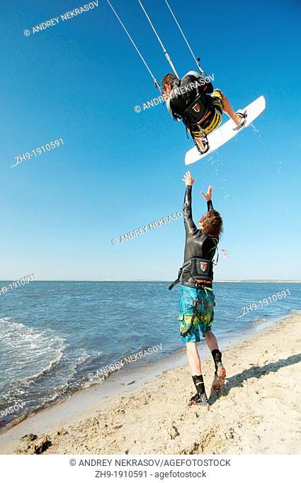 Kitesurfing kiteboarding, Black sea, Odessa, Ukraine