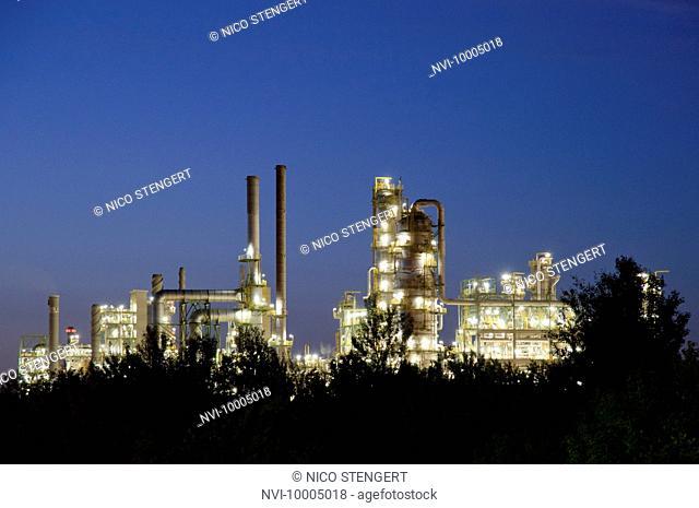 Petro chemical plant at night, Leuna, Germany