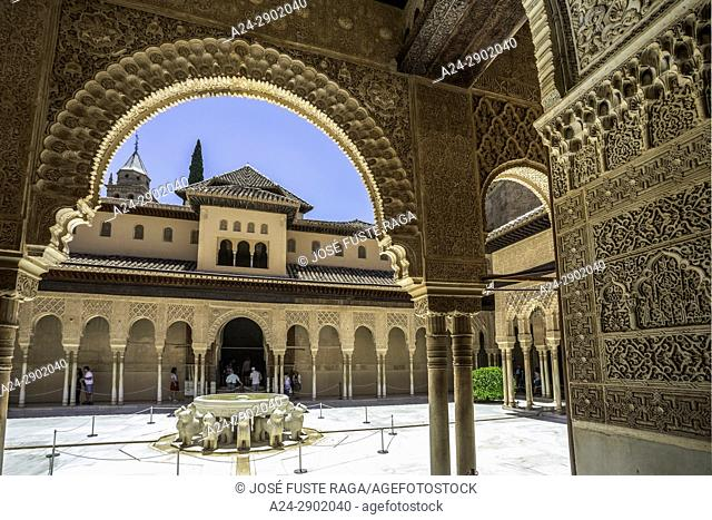 Spain, Andalucia, Granada City, The Alhambra, UNESCO (W. H. ),Court of Lions, Lions Fountain
