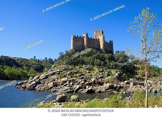 Overview of Almourol Castle, in a little island in the Tagus river, Vila Nova da Barquinhia, in Santarem district  Portugal