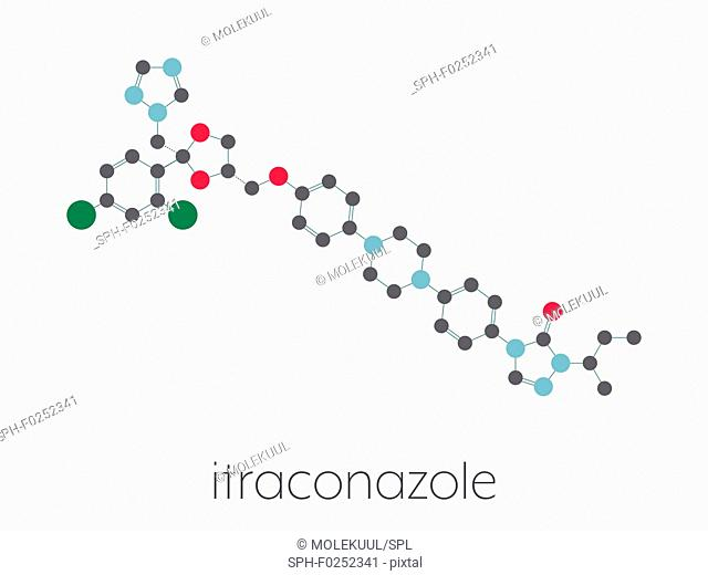 Itraconazole antifungal drug (triazole class) molecule. Stylized skeletal formula (chemical structure). Atoms are shown as color-coded circles connected by thin...