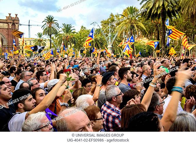 Crowds watch Carles Puigdemont speech about Independence of Catalonia, Spain