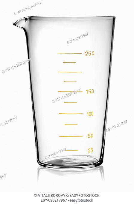 Glass beaker graduated isolated on white background