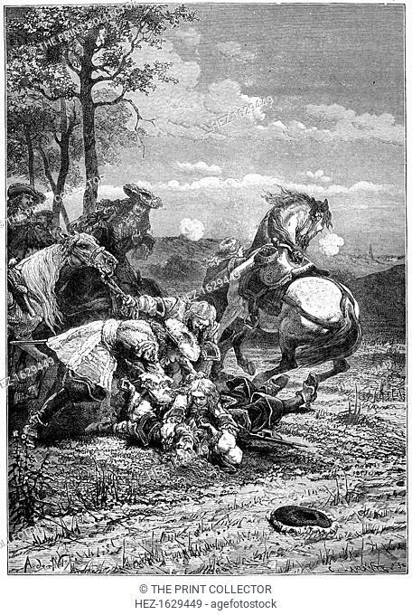 Death of Turenne, Henri de La Tour d?Auvergne, marshal of France, 1898. A print from Les Français Illustres, by Gustave Demoulin, Hachette, Paris, 1898