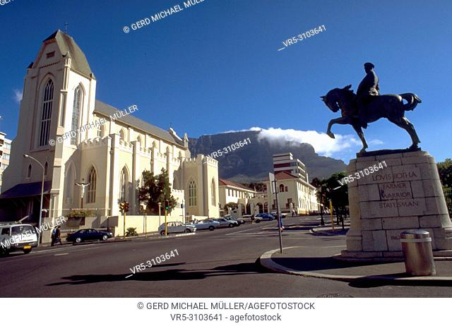 The catholic church and the Louis Botha Horse monument in Cape Town