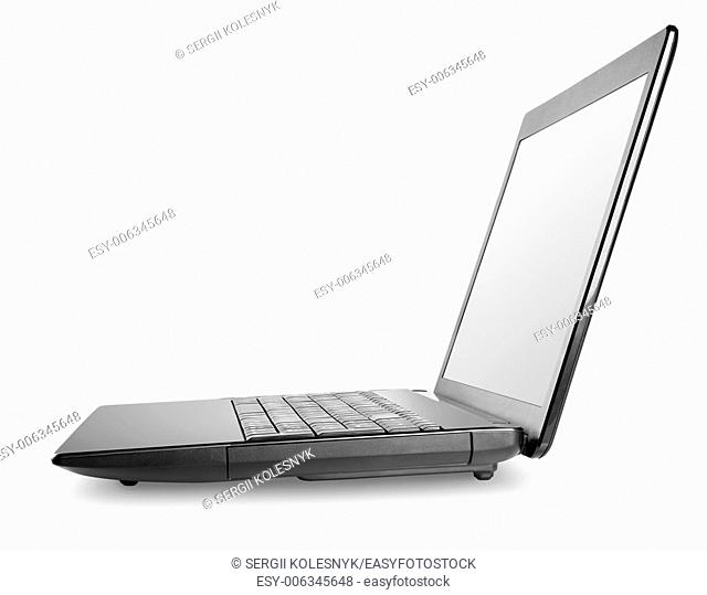 Black laptop isolated on a white background