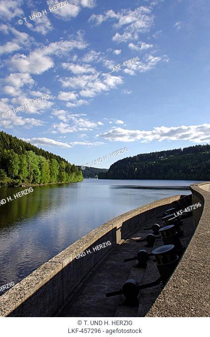 Barrage, Oker reservoir, Harz, Lower-Saxony, Germany, Europe