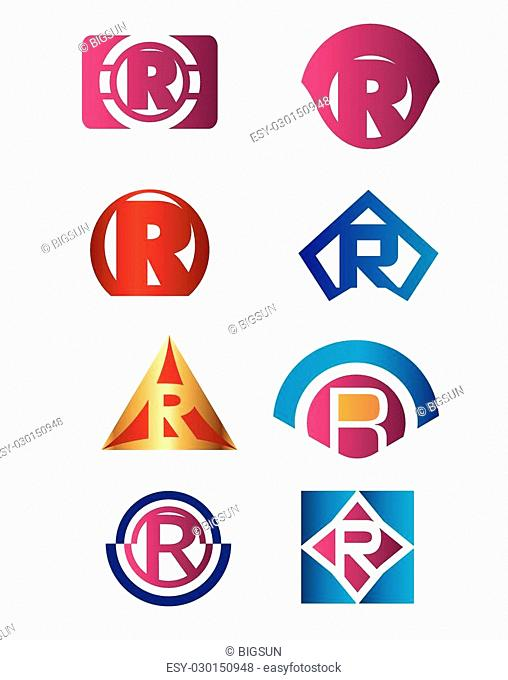 Set of letter R logo Branding Identity Corporate vector symbol design template
