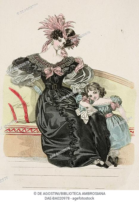 Woman wearing a black dress with puffed sleeves and pink ribbons in her hair and a young girl wearing a green dress with pink ribbons in her hair, plate 60