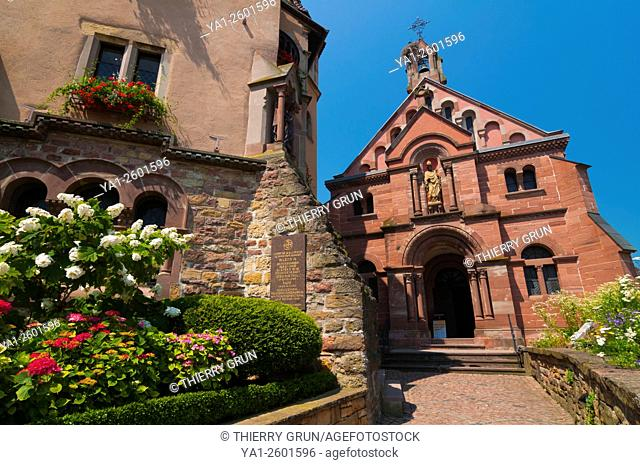 France, Haut Rhin (68), Eguisheim village (elected most beautiful french village), Saint Leon castle and chapel