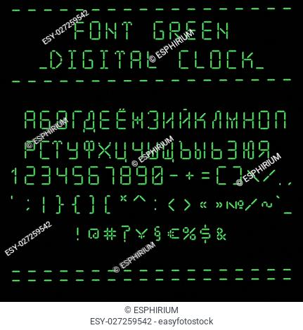 Font green digital clock - cyrillic capital letters. Vector illustration 10 EPS