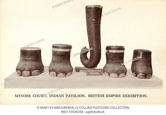 Elephants feet and trunk as furniture items displayed in the Mysore Court, Indian Pavilion, British Empire Exhibition, Wembley, 1924