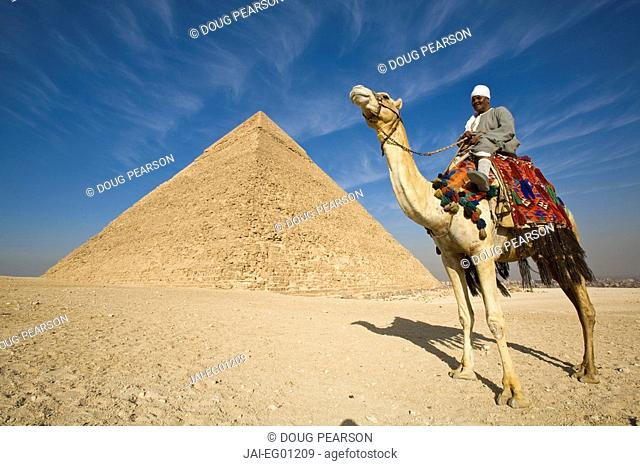 Camel & driver at the Pyramids, Giza, Cairo, Egypt