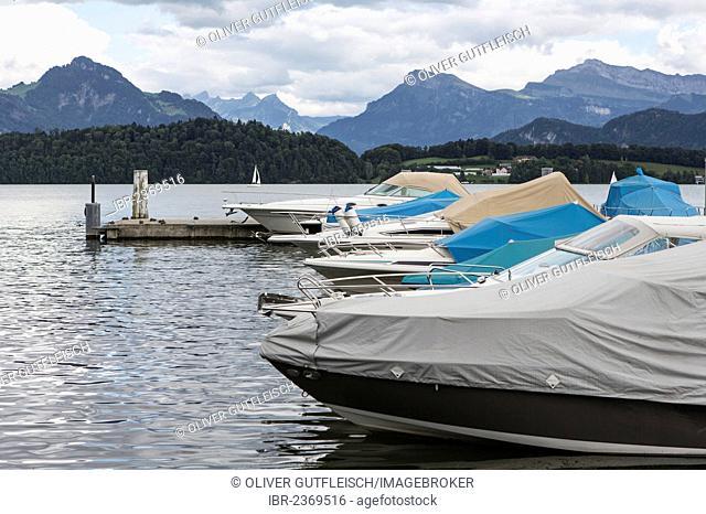 Boats on Lake Lucerne in Meggen, Lucerne, Switzerland, Europe