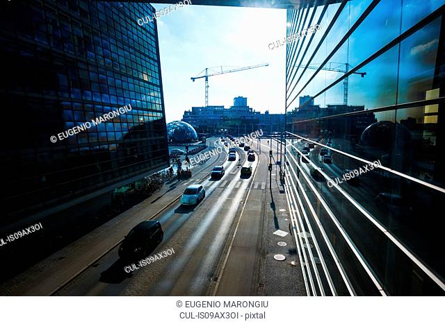 Elevated cityscape with highway traffic and office buildings, Copenhagen, Denmark