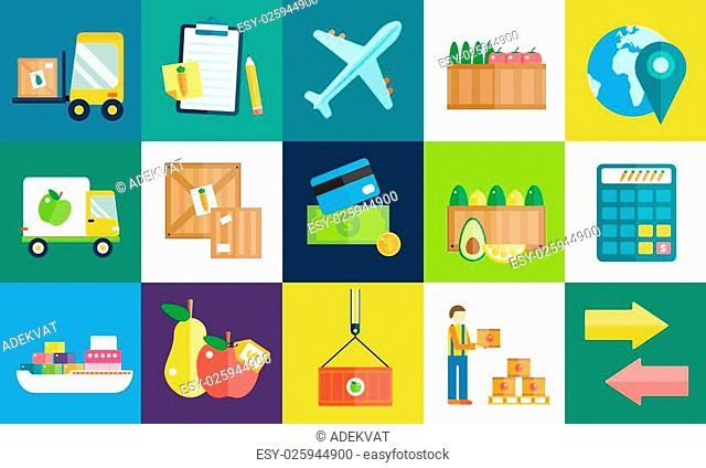 Import export fruits and vegetables delivery icons set. Flat icons infographic. Colorful modern design flat icons, import export symbols, delivery, shipping