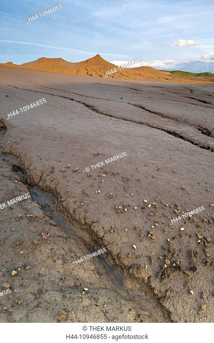 Europe, Romania, Berca, geologic, botanical, protective area, nature reserve, European, Rumanian, mud volcano, mud pot, morphological, elevation, liquid