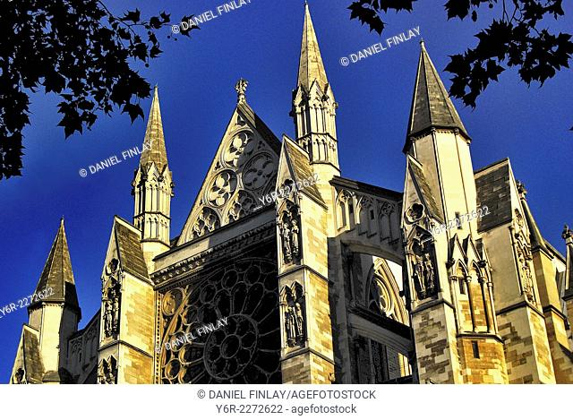 Turrets of the north facade of Westminster Abbey in the heart of London, England