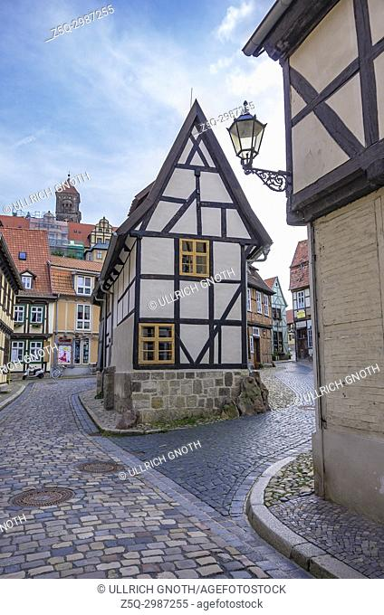 North gable end of the listed half-timbered house of Finkenherd 1 in Quedlinburg, Saxony-Anhalt, Germany