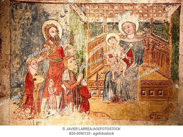 Mural paintings. Ermita de Nuestra Señora en Ipas (Huesca), Diocesan Museum of Jaca, Museo Diocesano de Jaca, Jaca, Huesca province, Aragón, Spain, Europe
