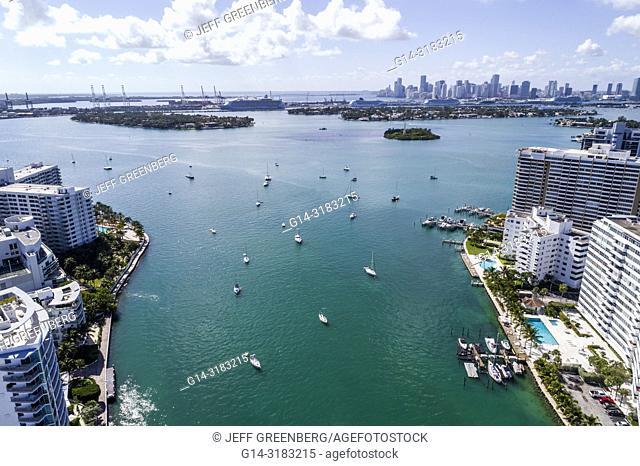 Florida, Miami Beach, Biscayne Bay, aerial overhead bird's eye view above, Belle Isle, high rise condominium buildings, Belle Plaza Condominium, Belle Towers
