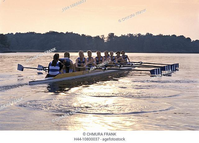 eight, group, lake, mood, rowing boat, sports, team, rowing, oar, women, woman, people