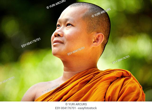 Placid Buddhist monk gazing upwards in contemplation outdoors