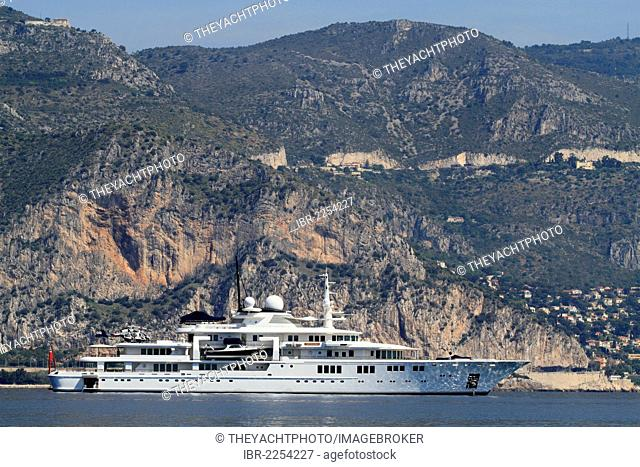 Motor yacht Tatoosh, built by shipyard Nobiskrug in 2000, length 92.42 metres, at Cap Ferrat or Cape Ferrat, on the Côte d'Azur, France, Mediterranean, Europe