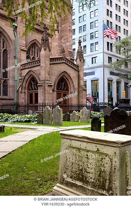 Graveyard of Trinity Church in Lower Manhattan, New York City USA