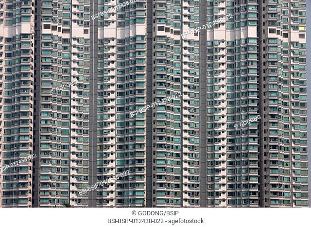 Apartement skyscrapers. The residential high rise building, 'Seaview Crescent', in Tung Chung on Lantau Island
